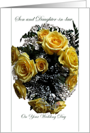 Wedding, Congratulations, Son and Daughter-in-law, Yellow Rose Bouquet card