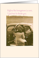 Thank you, Bachelorette party attendance, Bride Going Away Suit and Antique Auto card