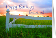Birthday,Reverend,Sun Over Low Sun and White Fence in Field of Buttercups card