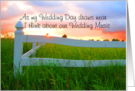 Invitation,Wedding,Music,Sun Over Low Sun and White Fence in Field of Buttercups card