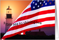 Labor Day, Flag Waves in Front of Light House card
