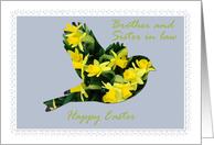 Easter, Brother and Sister in law, Daffodil Bird on Blue card