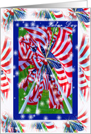Labor Day, Patriotic American Flags Pinwheel, Stars and Stripes card