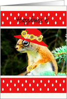 Birthday, Red Hat, Bespeckled, Standing Red Squirrel in Red Hat With Flowers card