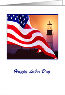 Labor Day, American Flag Flutter By Lighted Lighthouse card