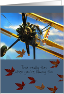 Birthday, Time Flies, Old Classic WWI Airplane, Prop job card