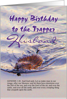 Birthday, Trapper, Husband, Beaver Swims Stream card