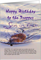 Birthday, Son in law, Trapper, Beaver Swims in Water Stream card