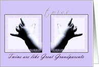 Congratulations, Great Grandparents, Twins, Baby Hands card