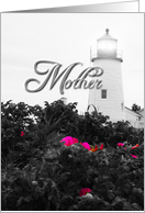 Mother, Get Well, Feel Better, Lighthouse Lighted over Wild Roses card