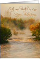 Thanksgiving, Sister & Brother in Law, Water, Autumn, Morning Mist card