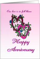 Happy Anniversary - Hearts and Flowers card