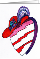 Red Hat on Designer Heart Valentine card