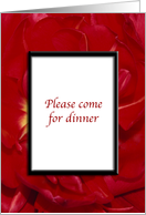 Dinner Party Invitation - Red Flowers card