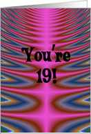 Happy Birthday - 19 years old Pink Tie Dye card