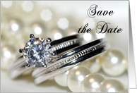 Save the Date Wedding Rings and Pearls card