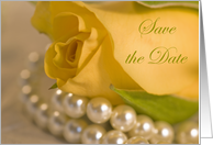 Wedding Save the Date Announcement Yellow Rose and Pearls card
