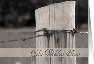 Couples Wedding Shower Invitation Country Fence Post card