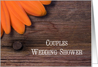 Orange Daisy and Barn Wood Couples Wedding Shower Invitation card