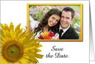 Wedding Save the Date Photo Card, Yellow Sunflower card