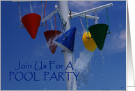 Pool party invitation: colorful splashing buckets card