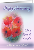Parents Happy Anniversary to a special couple - Poppies card