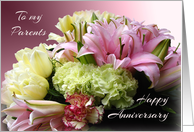 To Parents Happy Anniversary - Pink Bouquet card
