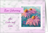Zum Geburtstag - Happy Birthday in German, pink rudbeckias card