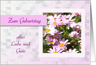 Zum Geburtstag - Happy Birthday in German, pink daisies card