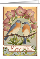 Bluebirds and Primrose - French Mother's Day card