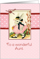 happy Easter to my wonderful aunt, vintage bunny, ribbon effect card