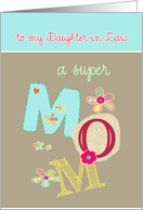 to my daughter in law, happy mother's day, letters & florals card