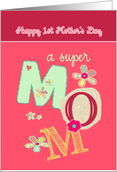 happy first mother's day, bright letters & florals card