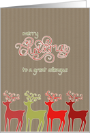 To my colleague, business Christmas card, reindeers, card