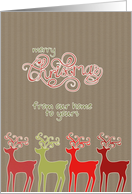Merry Christmas from our home to yours, reindeers, kraft paper effect card