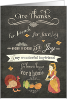 Happy Thanksgiving to my boyfriend, chalkboard effect card