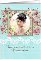 Quinceañera invitation, photo card, pink roses, lace effect card