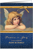 For aunt and her family, Christmas card, vintage angel card