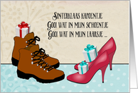 Fijne Sinterklaasavond, Dutch holiday, boots, high heels, presents card