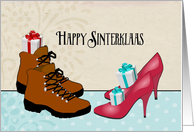 Happy Sinterklaas, Dutch holiday, boots, high heels, presents card