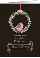 From all of us, Season's Tweetings, robin & wreath card