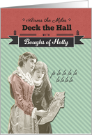 Across the Miles, Deck the Hall, Vintage Christmas card
