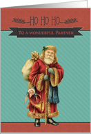 To my wonderful Partner, Retro Christmas Card, Vintage Santa Claus card