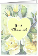 just married- white rose heart pale card