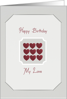 Happy Birthday to my love, red hearts on grey background card
