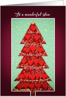 To a wonderful Son, Merry Christmas, Tree with Hearts card