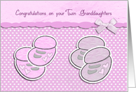 congratulations on your twin granddaughters, pink baby shoes card