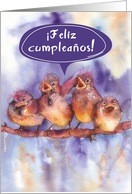 Feliz Cumplea�os, Happy birthday in Spanish, cute singing birds card