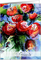 grazie vibrant red roses in vase card