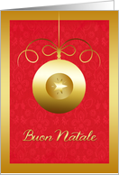 buon natale, merry Christmas in Italian, golden effect glass ornament card